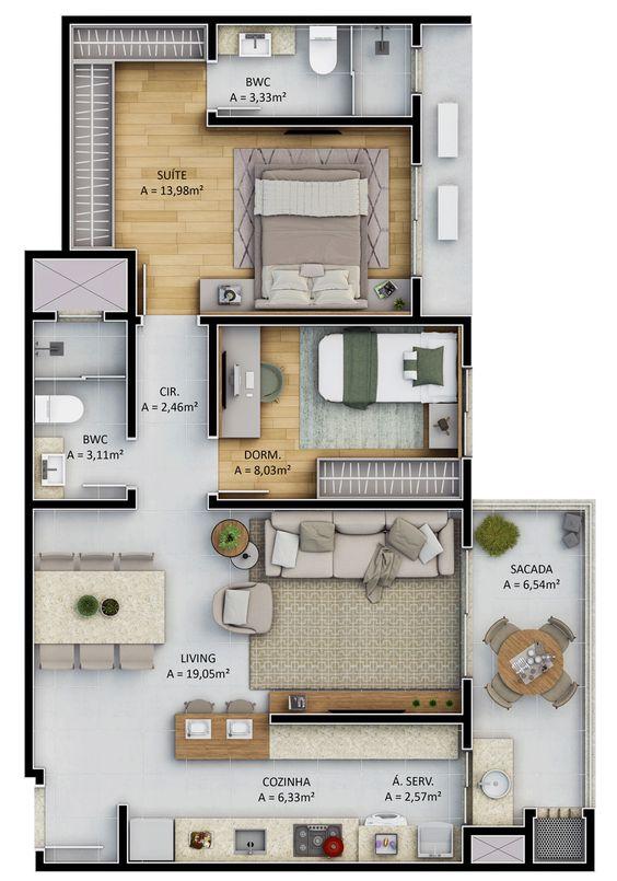 planta de casa com sala e sacada