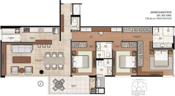 planta de casa com três quartos e uma suíte