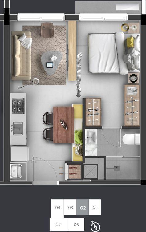 projeto de casa com um quarto e cozinha