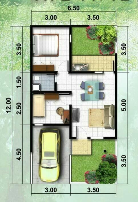 planta de casa com um quarto e jardim