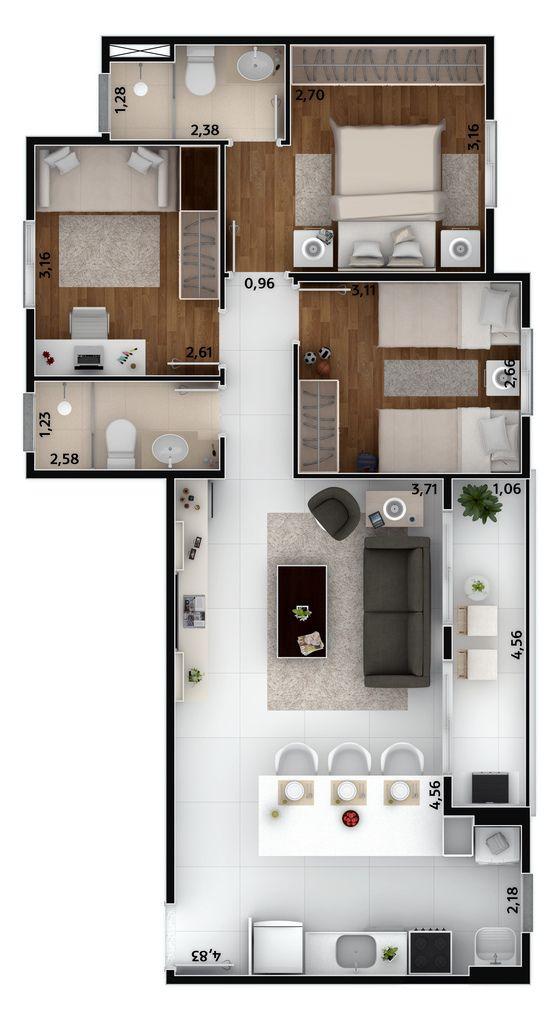 projeto de casa com três quartos