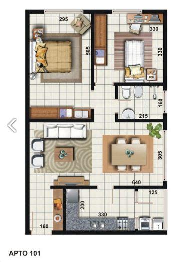 projeto de casa com dois quartos e cozinha