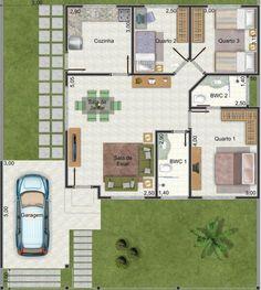 projeto de casa com uma vaga e sala integrada