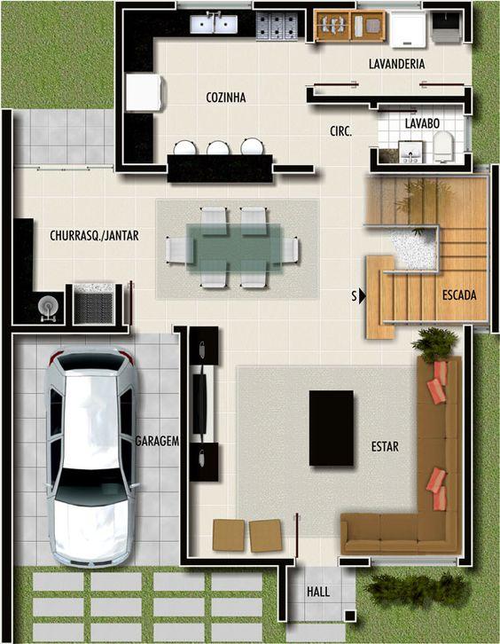 projeto de casa com churrasqueira e sala de jantar