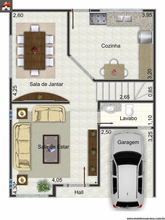 projeto de casa com cozinha e sala de jantar