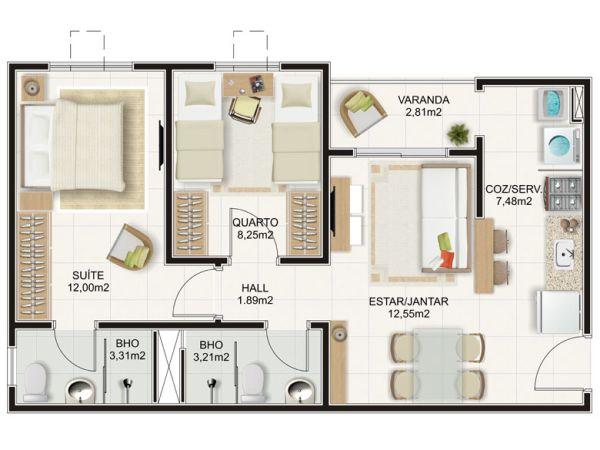 casa com uma suíte e uma dormitório com varanda