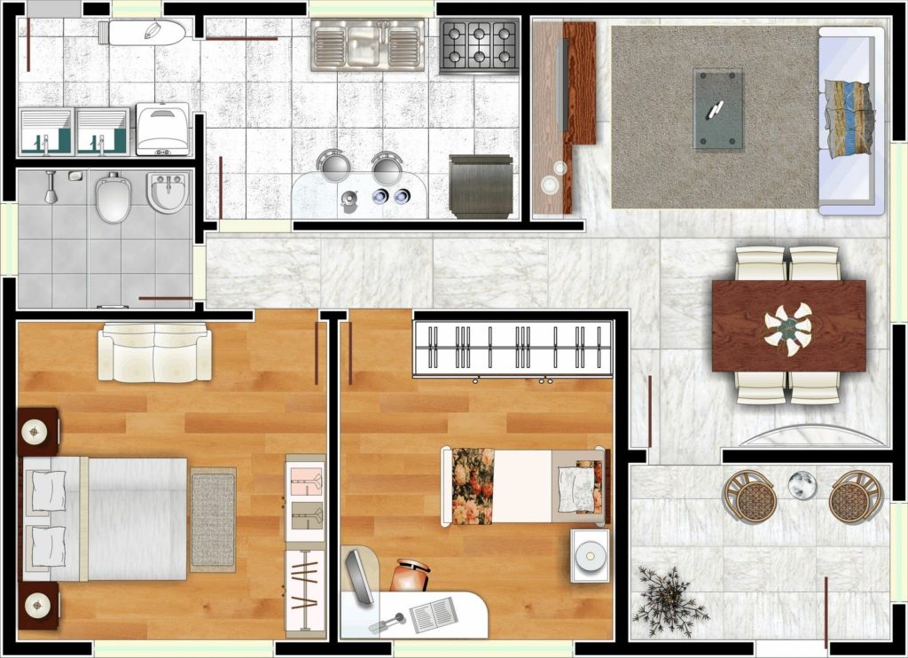 casa com cozinha fechada e pequena varanda