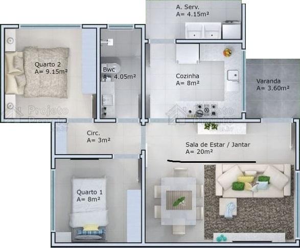 planta de casa com dois quartos e varanda pequena