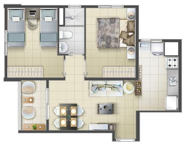 planta de casa com 2 quartos e varanda