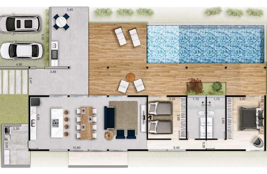 planta de casa com dois quartos e piscina