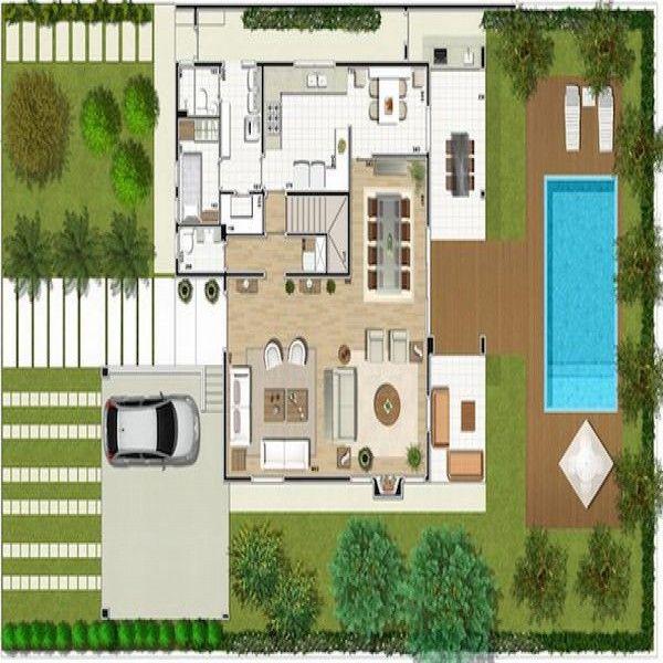 planta de casa moderna com piscina olímpica