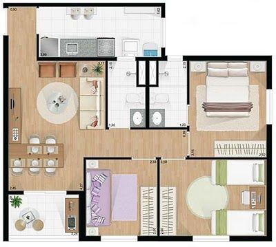plantas de casas pequenas com dois quartos