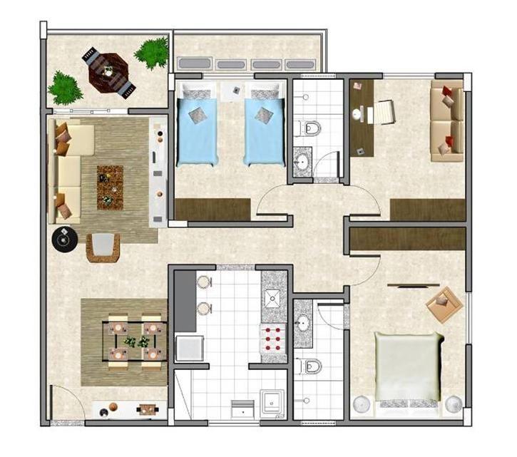 planta de casa com 2 quartos e uma suíte