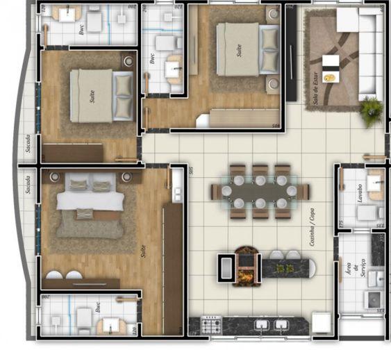 plantas de casas pequenas com sala de jantar integrada