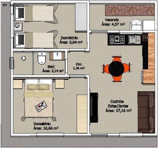 planta de casa com 2 quartos e sala de jantar e estar