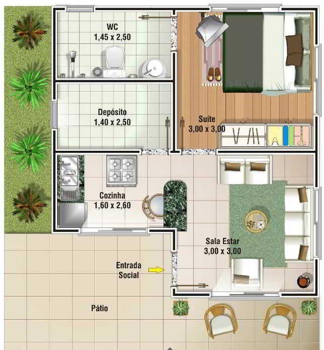 planta de casa com 2 quartos simples
