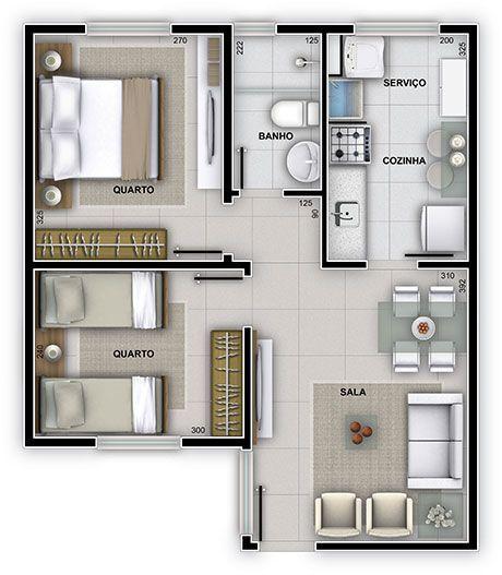 planta com dois quartos e um banheiro