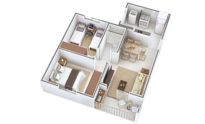 planta de casa com 2 quartos e sala de jantar integrada