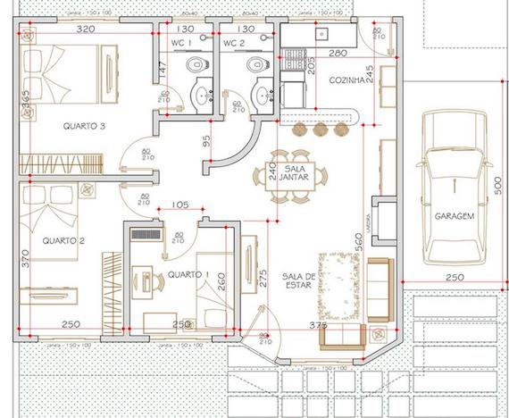 planta de casa com garagem e 3 quartos