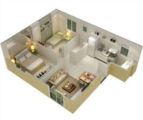 planta de casa com 2 quartos e cozinha integrada