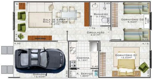 planta de casa com dois quartos e com e uma vaga de garagem