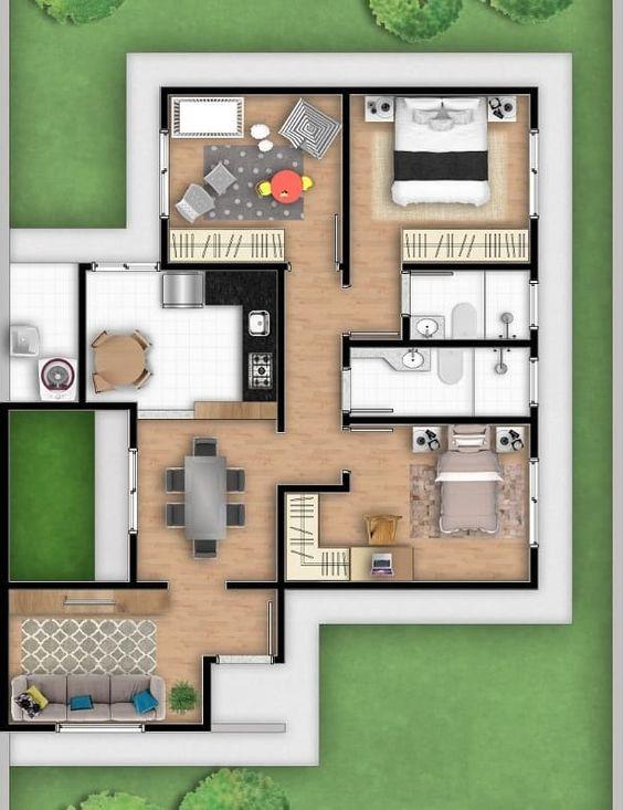 planta de casa com três quartos e salas separadas
