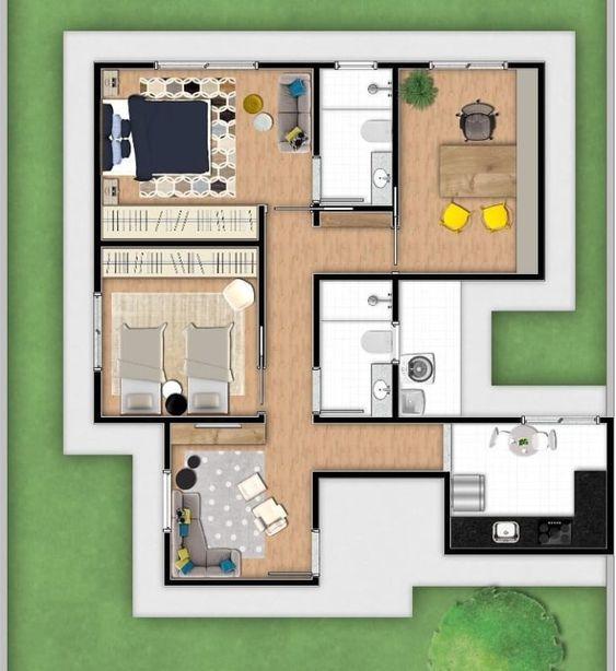 planta de casa moderna com escritório