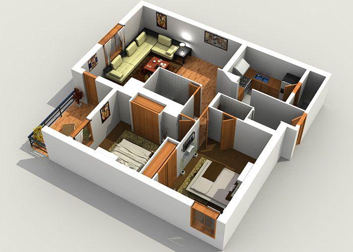 planta de casa com 2 quartos e sacada