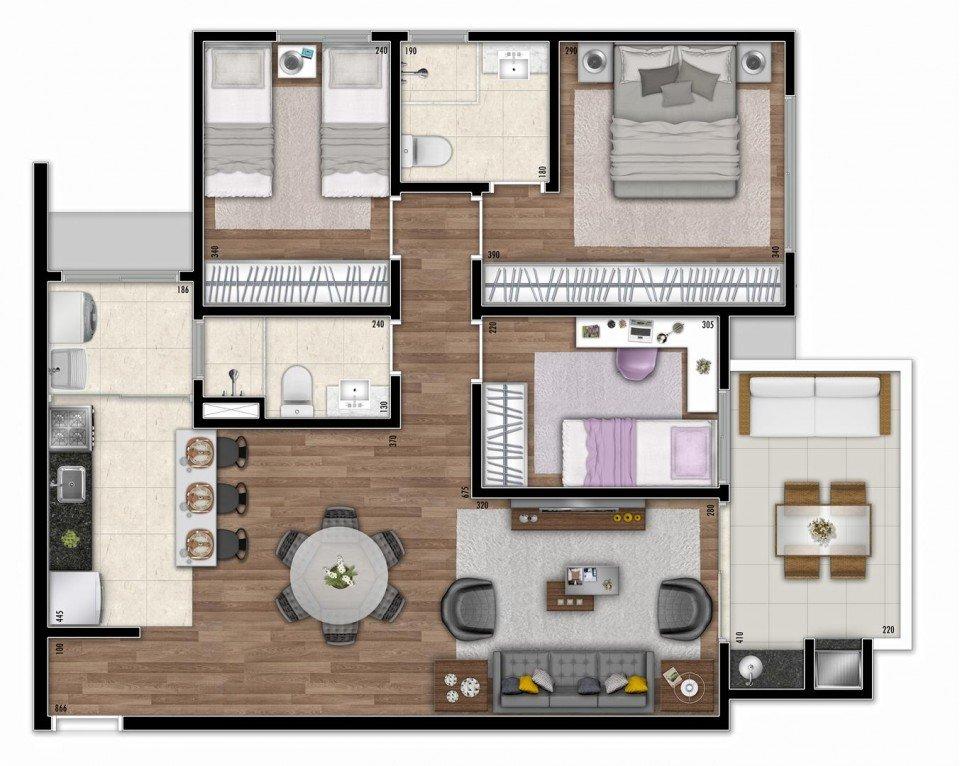 plantas de casas com 3 quartos com cozinha integrada