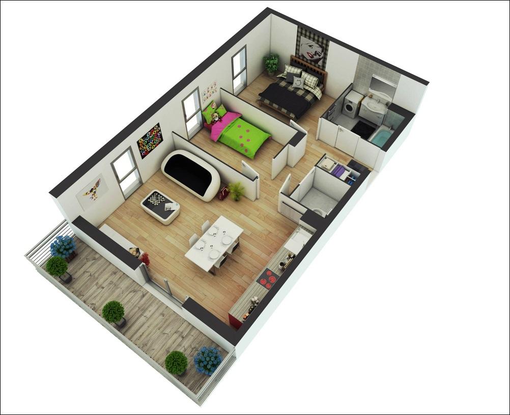 casa moderna com sacada e dois dormitórios