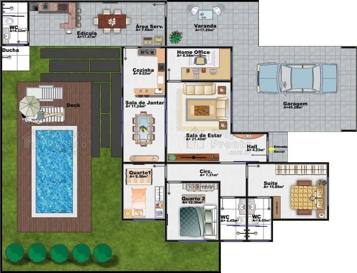 plantas de casas com 3 quartos com piscina e deck