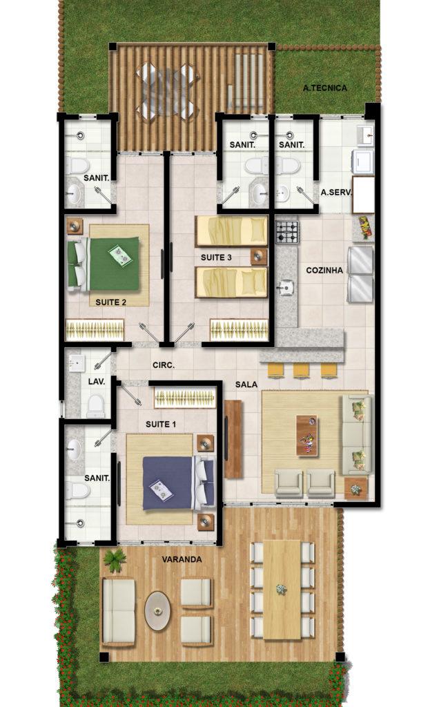 plantas de casas com 3 quartos com pergolado
