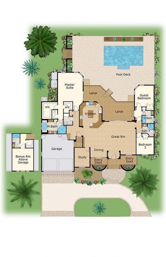 plantas de casas térreas com piscina quintal e 3 quartos