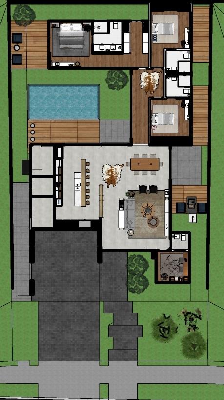 plantas de casas térreas estreitas com piscina e living grande