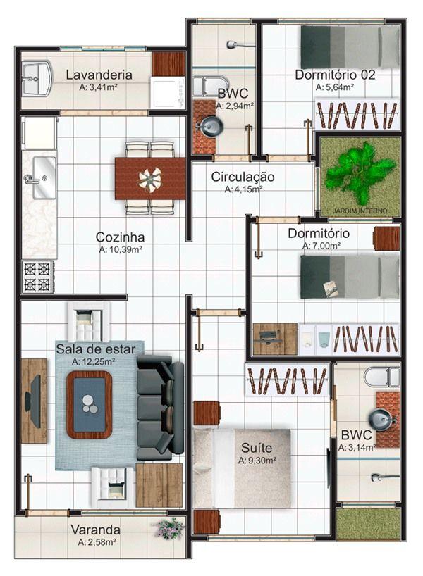 plantas de casas térreas com 3 dormitórios e suíte