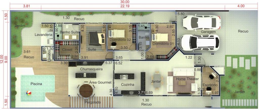 plantas de casas com 3 quartos com piscina e área gourmet