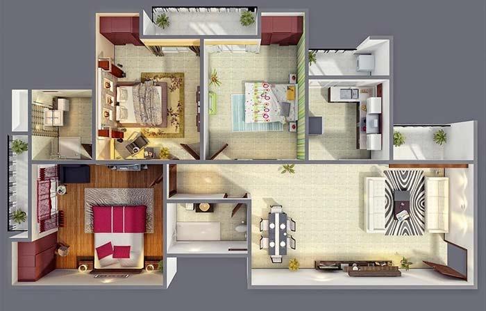 plantas de casas com 3 quartos com sala pequena
