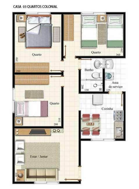 plantas de casas pequenas com sala de estar