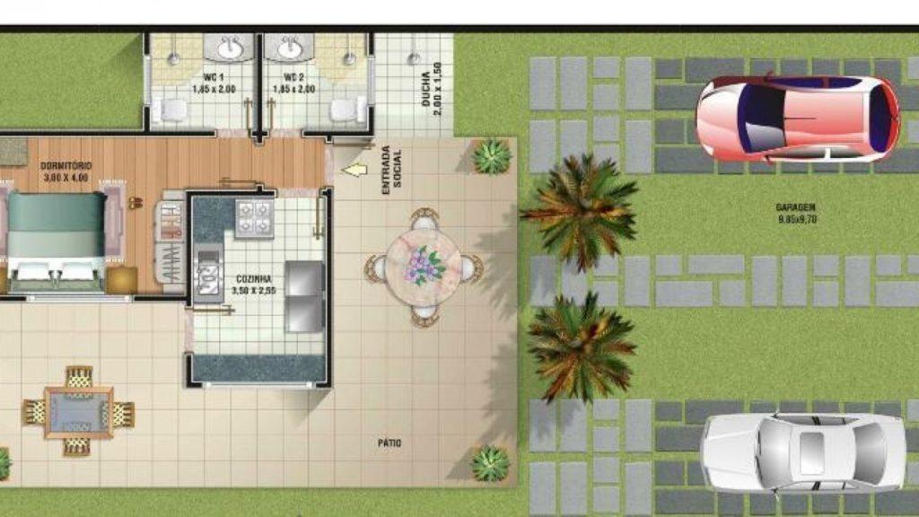 plantas de casas pequenas com cozinha e quintal