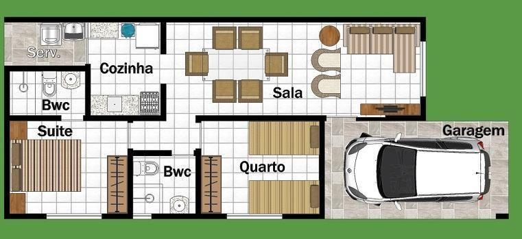 planta de casa com 2 quartos e um banheiro