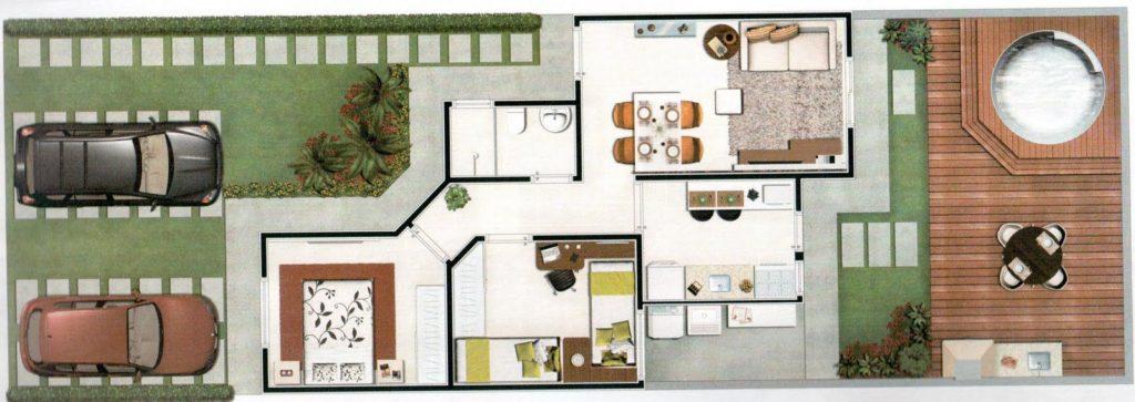 planta de casa moderna com banheira de hidromassagem