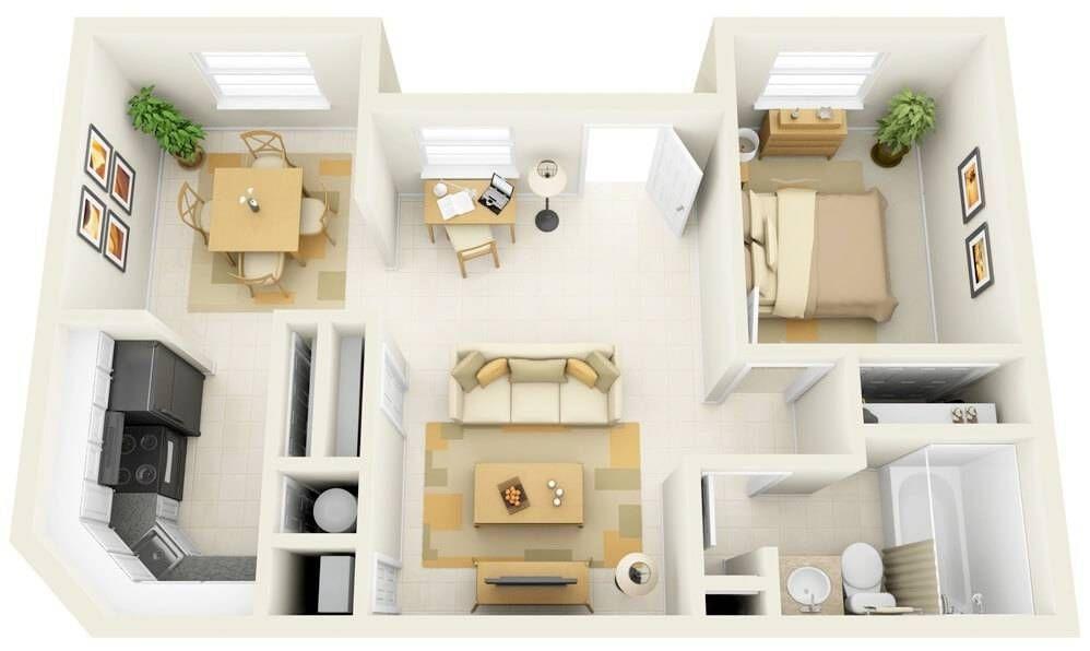 plantas de casas pequenas com home office