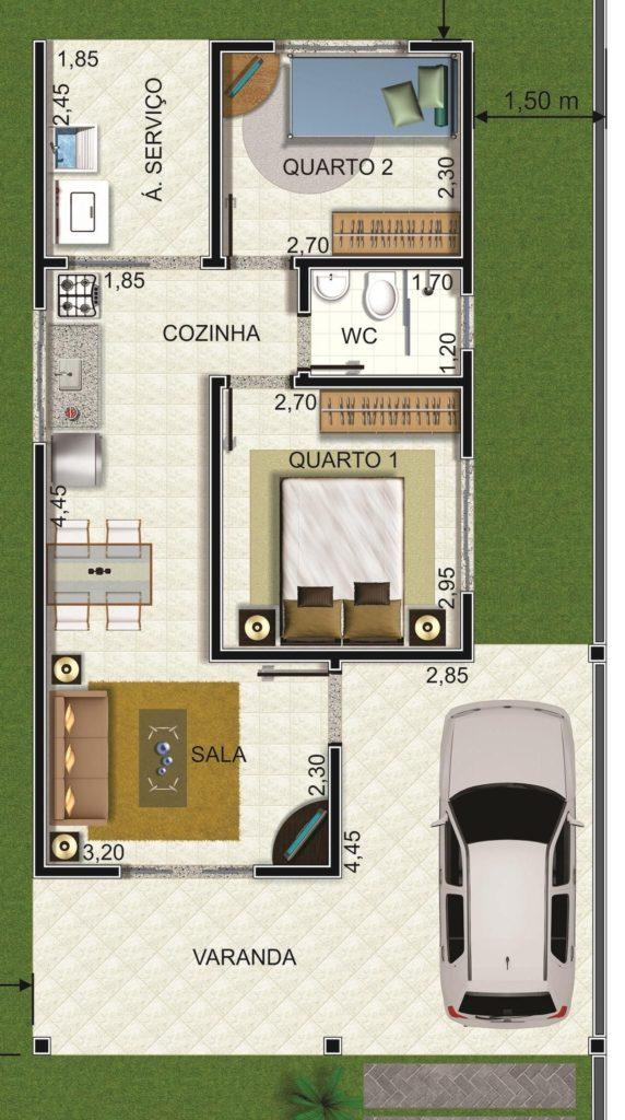 planta de casa om dois quartos e sala dois ambientes