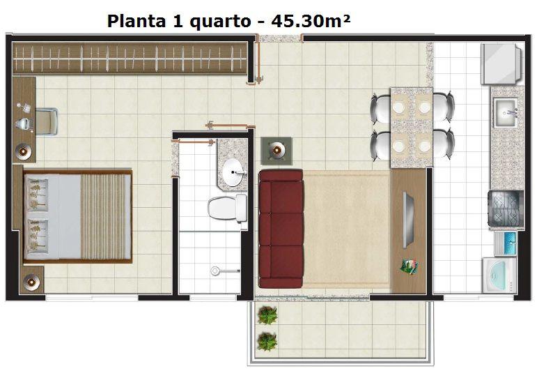 plantas de casas pequenas com um quarto e  cozinha