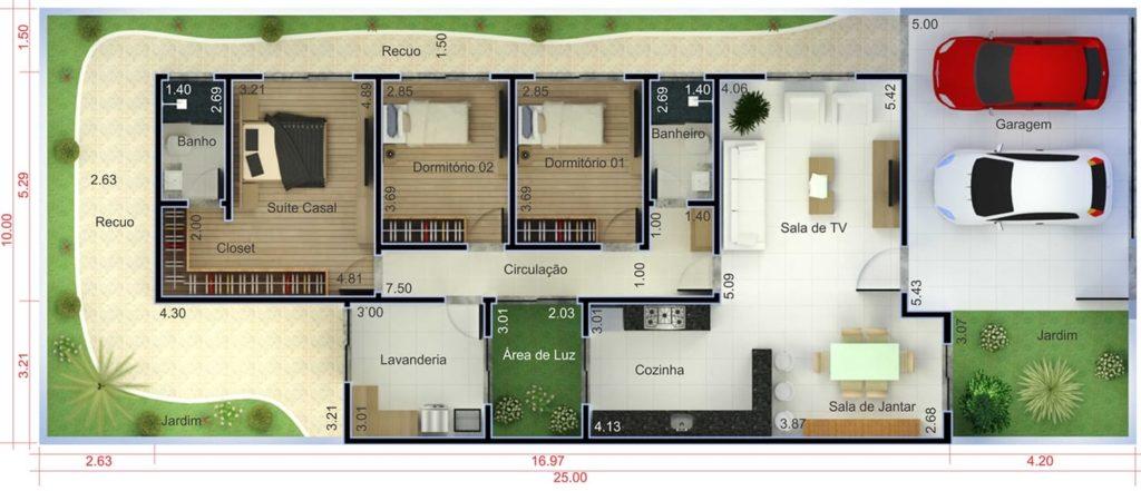 plantas de casas com 3 quartos com sala e tv e jardim de inverno