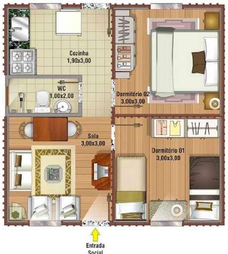 planta de casa com 2 quartos e  banheiro