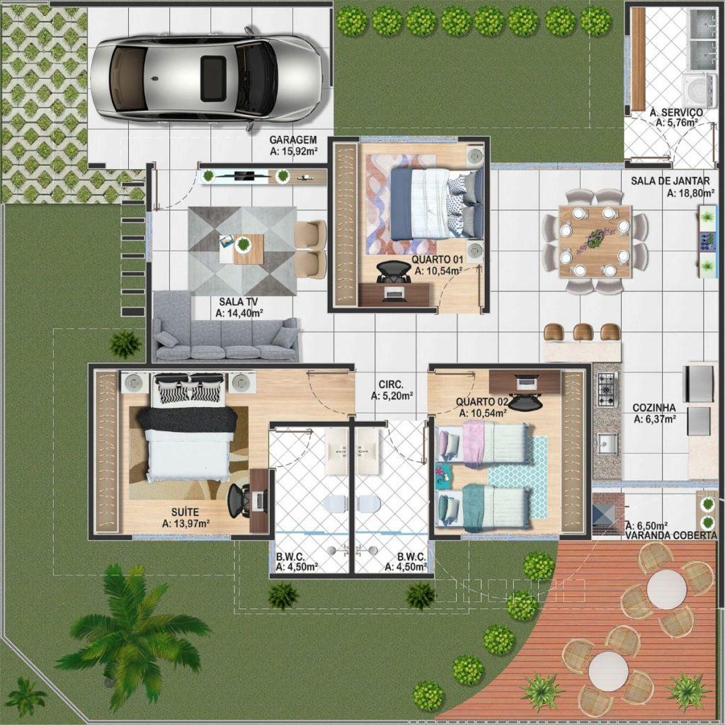 planta com deck de madeira e 3 quartos