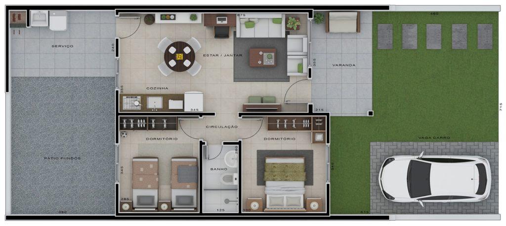 planta de casa moderna pequena
