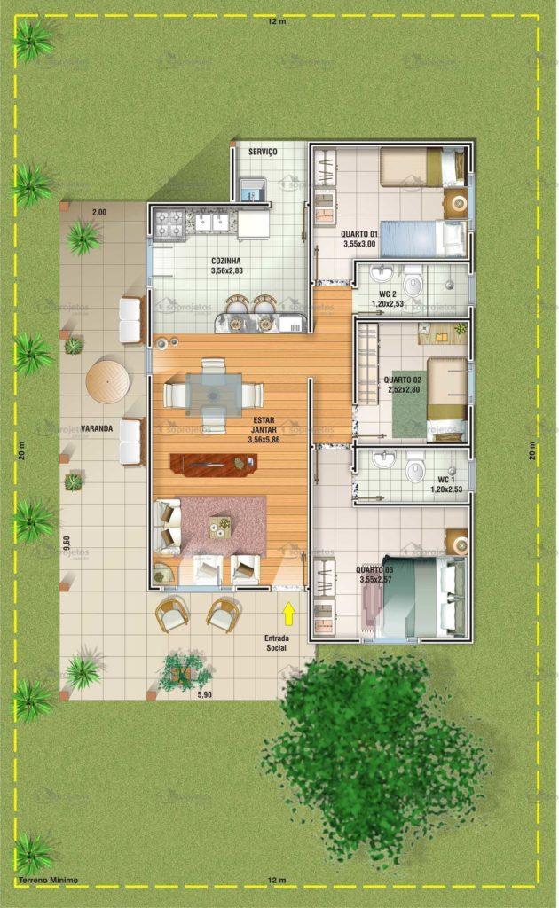 planta de casa moderna com grande varanda