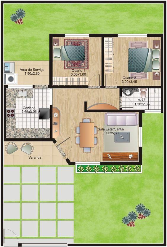 planta com varanda e dois quartos